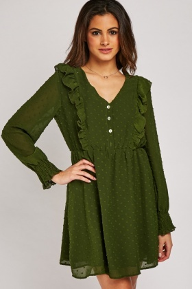 Ruffle Front Tunic Dress