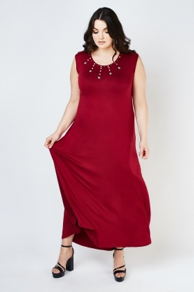 Scoop Neck Encrusted Maxi Dress