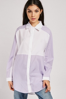 Striped Panel Oversized Shirt