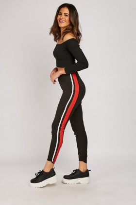 Striped Side Skinny Trousers