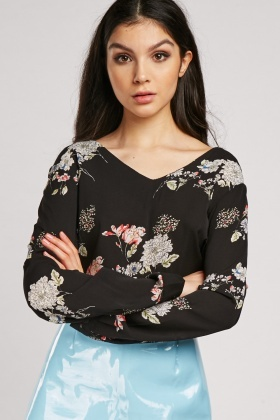 Textured Flower Print Blouse