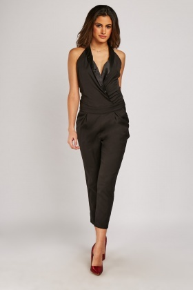 Wrap Over Halter Jumpsuit