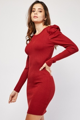 Button Detail Ruched Sleeve Jumper Dress