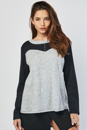 Encrusted Colour Block Sweater