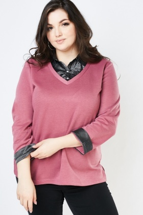 Sateen Shirt Insert Knit Sweater