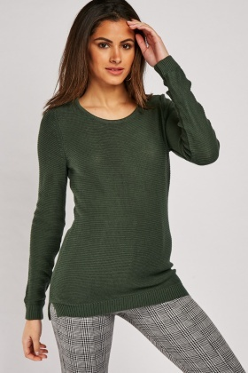 Casual Ribbed Knit Jumper
