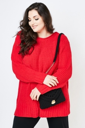 Chunky Knitted Herringbone Jumper