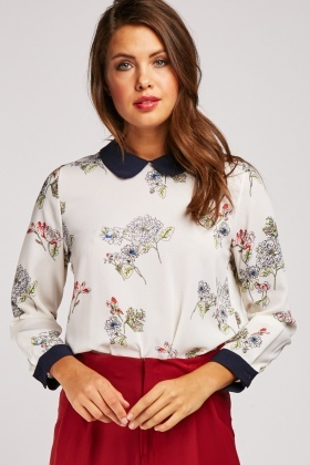 Delicate Flower Print Collared Blouse