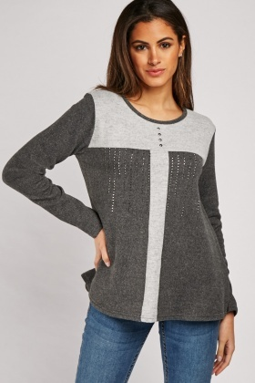 Encrusted Colour Block Knit Top