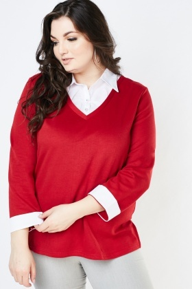 Shirt Underlay Knit Sweater