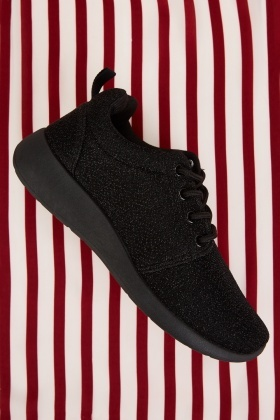 Black Lurex Low Top Trainers