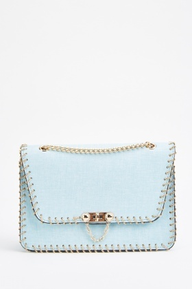 Chain Trim Studded Flap Over Bag