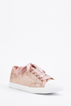 Glittery Ribbon Lace Up Trainers