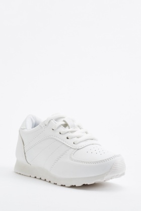 Kids White Lace Up Trainers