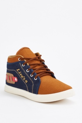Two-Tone Denim Mens Sneakers