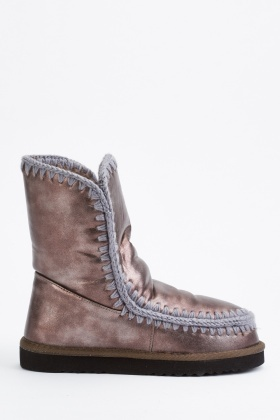 Yarn Embroidered Metallic Winter Boots