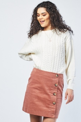 Button Trim Mini Corduroy Skirt