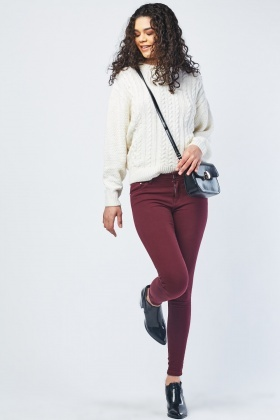 Mid Rise Wine Skinny Jeans