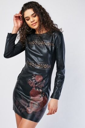 Rose Print Laser Cut Faux Leather Dress