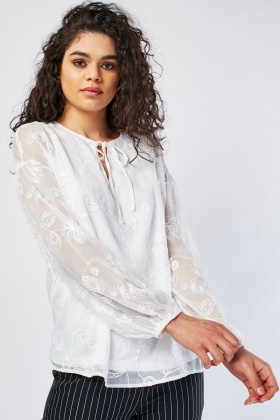 Tie Up Neck Front Embroidered Blouse