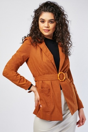 Wooded O-Ring Belted Blazer