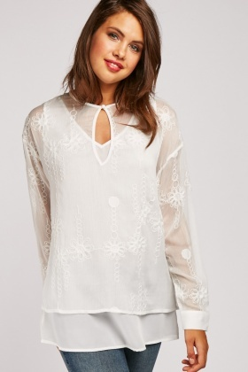 Embroidered Sheer Chiffon Blouse