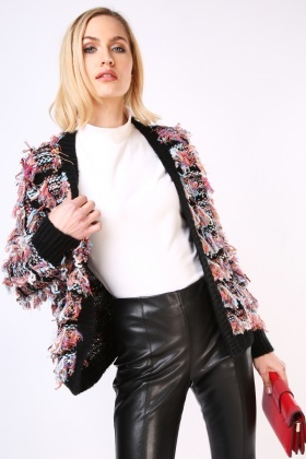Metallic Multi Eyelash Knit Cardigan