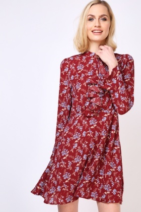 Ruffle Front Ditsy Floral Dress