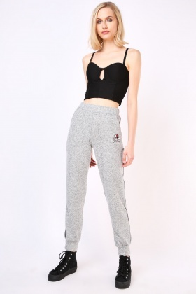 Skull Embroidered Speckled Joggers