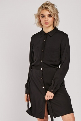 Belted Long Sleeve Shirt Dress