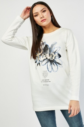 Printed Front Long Sleeve Top