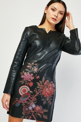 Printed Leather Shift Dress
