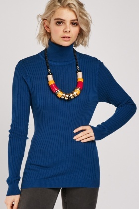 Ribbed Turtle Neck Knit Top