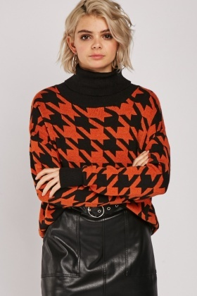 Roll Neck Houndstooth Jumper