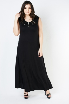 Sleeveless Encrusted Maxi Dress