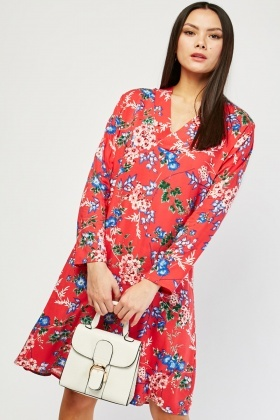 V-Neck Flower Print Tunic Dress
