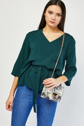 V-Neck Tie Up Blouse