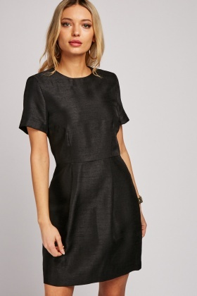 Box Pleated Textured Dress