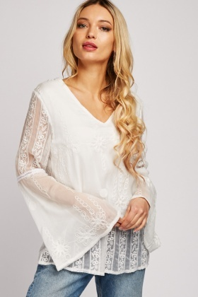 Embroidered Flared Sleeve Chiffon Blouse