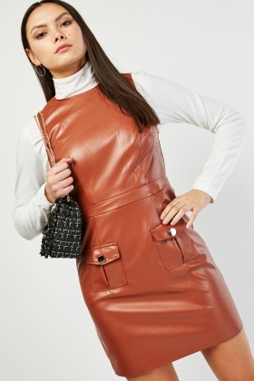 Faux Leather Twin Pocket Dress