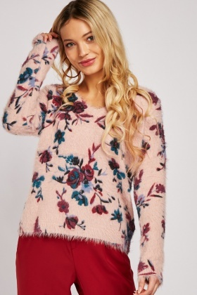 Floral Eyelash Knit Jumper