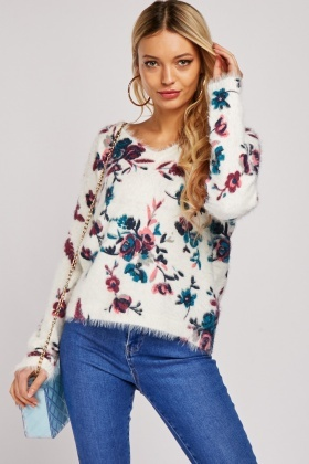 Flower Print Eyelash Jumper