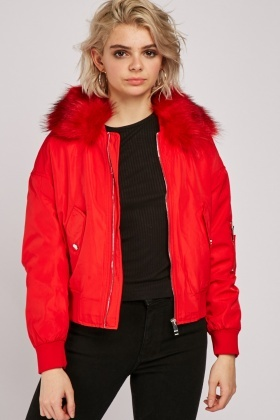 Fur Trim Bomber Jacket