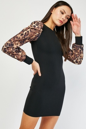 Leopard Print Sleeve Bodycon Dress