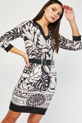 Oversized Palm Printed Bodycon Dress
