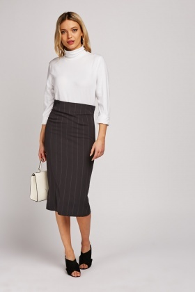 Pin-Striped Midi Pencil Skirt