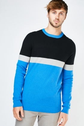 Ribbed Trim Colour Block Jumper