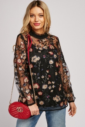 Sequin Embroidered Tulle Blouse