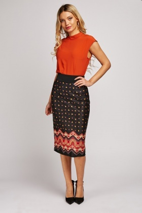 Tribal Print Midi Sateen Skirt