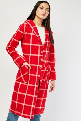 Windowpane Hooded Midi Coat